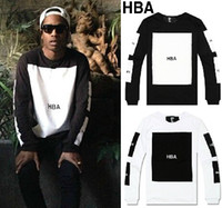 Men big block hood - Hood By Air HBA Men Women T Shirts cotton big block design tee shirt hiphop t shirt fashion tshirt kanye west pyrex long sleeve t shirt