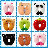 Wholesale High quality Cute Soft Cartoon U Shaped Pillow Styles Pink Pig Strawberry Frog Black Cat Tiger Bruins Pink Rabbit Panda Children s Pillows