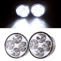 Cheap 2Pcs Universal Vehicle Car Daytime Running Light Bulb DRL Car Fog Light Lamp Led Day Driving Lamp White 4 LED Round