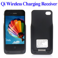 Cheap Qi standard Wireless Charger Receiver Case charging transmitter Jacket cover for iPhone 4 4S Black free shipping