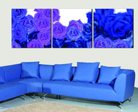 Cheap 3 Piece Wall Art No Framed Modern Abstract Acrylic blue rose Flower Oil Painting On Canvas Orient Colorful Pure hand-painted picture