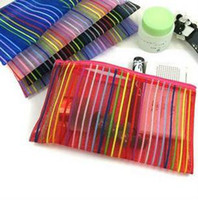 Wholesale New Simple Practical Cosmetic Bag Colorful Line Polyester Washing Bag Mutli Purpose For Unisex Mix Color