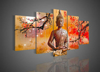 Wholesale Pictures Decor Hand painted Wall Art Home Decor Religious Sakyamuni Buddha Stat Oil Painting On Canvas With Framed Ready To Hung BU011