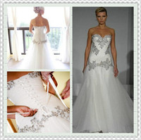 bling wedding dress - Pnina Tornai Wedding Dresses Sweetheart Neck A Line Bling Bling with Tulle Beaded Lace Up at Back Ruched Chapel Train Bridal Gown WH313