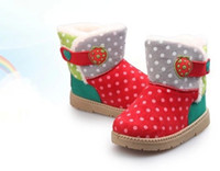 Wholesale 2014 Winter Hot Sale Children Boys Girls Snow Boots Polk Dot Strawberry Velcro Warm Fur Kids Chids Boot Shoes Korean Style Baby Shoe J1182