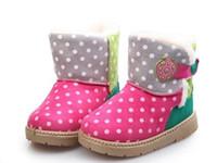 Wholesale 2014 Winter Hot Sale Children Boys Girls Snow Boots Polk Dot Strawberry Velcro Warm Fur Kids Chids Boot Shoes Korean Style Baby Shoe J1182