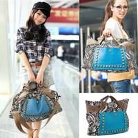 large handbags - 2014 The female national trend bag one shoulder women s handbag large rivet messenger bag canvas women s bags H10379
