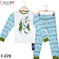Wholesale Big Size T Frozen Olaf Pajamas Children Cotton Pyjamas long Sleeve Pants Piece Suits C001