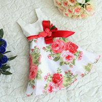 Wholesale baby girl kids chiffon dress rose flower tutu dress floral tutu dress satin ribbon bow jumper jumpsuits rosette bowknot princess costumes