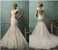 Wholesale 2014 Amelia Sposa V Neck Cap Sleeve Lace Tulle Mermaid Wedding Gowns Appliqued Fit Flare Sheer Backless Plus Size Bridal Party Dresses Cheap