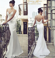 Wholesale 2014 Amelia Sposa Spaghetti Thin Straps Mermaid Wedding Gowns Appliqued Fit Flare Sheer Backless Plus Size Bridal Party Dresses Cheap