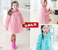 Wholesale Frozen Elsa Raincoat Dress Baby Kids Girls Clothes Gauze waterproof Coat Hooded cap hat Princess Jacket Outwear Party photo props blue pink