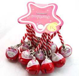 50pcs Red (PROSPERITY) Maneki Neko Lucky Cat Bell Cell Phone Charm Strap 0.6 in