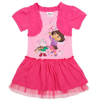 Wholesale High Quality Children Summer Clothing Girl Shortsleeve Cartoon Dora Dress Faux Twinset Baby Lace Layered Tutu Dress