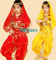 Wholesale 6pcs SET Kids Belly Dance Costume Child Indian Dancing Girl s Performance Clothing Children Stage Tutu belly dance Stage WearJ