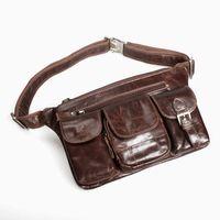 Wholesale Mens man shoulder bag genuine leather unbalance shoulder bag chest bag backpacks hip bag waist packs bum bag fashion brown