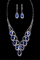 Wholesale 2014 Alloy Silver Blue Burgundy Crystals Diamond Necklace Earrings Set Bridal Jewelry Fashion Moden Elegant Wedding Event Bridal Accessories