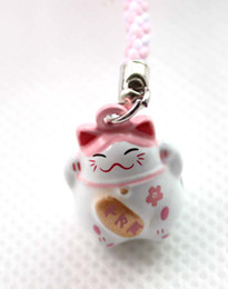 Hot!100pcs Pink (LOVE) Maneki Neko Lucky Cat Bell Cell Phone Charm Strap 0.7 in.