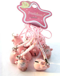 Wholesale 100pcs Popular Cute Pink (LOVE) Maneki Neko Lucky Cat Bell Cell Phone Charm Strap 0.6 in.