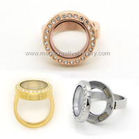 Wholesale New Diy Fashion Women mm l Stainless Steel Round Crystal Magnetic Floating Locket Rings