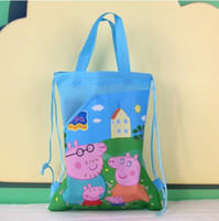 Wholesale Preorder Peppa Pig Children Girls Drawstring Bag Nonwoven Cartoon Pink Pig George Kids Study Handbags Childs Pink Bule Packages Bag H1208