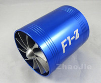 Cheap Dual Turbo Air Intake Gas Fuel Saver Fan F1-Z Tornado Turbine charger Double Propeller fit supercharger size 65mm ~ 74mm