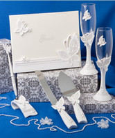 Wholesale Cheap Elegant Pens - Free Shipping Elegant butterfly design wedding guest book set cheap decoration gifts