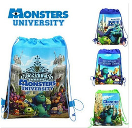 Étude des enfants à vendre-Hot Monsters University Nonwovens Enfants Sacs à dos Cartoon MU Enfants Enfants Garçons Étudiants Sacs à main Childs Lovely Étudiants Sacs 48pcs / lot H1209