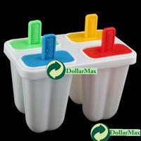 Cheap New arrive: DIY Ice Cream Frozen 4Pcs Popsicle Maker Mold Icepop Block Icy Pole Lolly Set wholesale