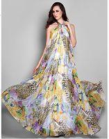 Sheath/Column leopard print prom dress - Leopard print Column Evening Dresses Halter Sleeveless Zipper Print Draping Floor length Chiffon Elegant Floral Formal Prom Dress