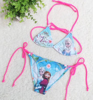 2014 New Arrival Summer 2Pcs set Bikini Frozen Elsa Children...
