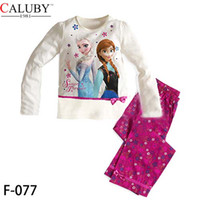 Wholesale Big Size T Frozen Clothing Sets Anna Elsa Princess Kids Pajama Set Snow Queen Girl Nightie Sister Forever Pyjamas C001