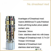 Cheap 2014 Hottest 26650 Dreadnaut Mod Clone Huge Vapor Mechanical Dreadnaut Mod 1:1 Clone Electronic Cigarette Vaporizer Cigarette