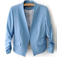 Cheap New European Style Sleeveless Suit Solid Puff Short Paragraph Coat Lady Without Buttons Tailored Suit BLAZERS