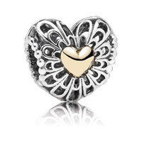 Wholesale 100 Sterling Silver k Real Gold Vintage Heart Bead Fits European Pandora Style Charm Jewelry Bracelets