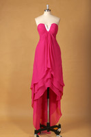 Cheap Sexy Hot High Low Asymmetrical V Neck Actual Image Cheap Girl Prom Party Dresses For Wedding From China RS-047