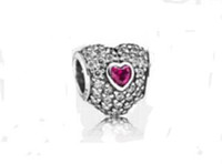 red heart charm - Authentic Sterling Silver Pave Triple Heart Bead with Rose Red Cz Fits European Pandora Jewelry Charm Beads Bracelets