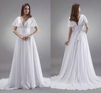 best beach destinations - Best Selling White Chiffon Beach Wedding Dresses Fall A Line Sexy V Neck Cap Sleeve Beaded Sweep Train Garden Destination Vestidos Sale