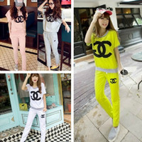 Cheap 2014 New casual letter sports suit for women short sleeve t-shirt and pants cotton 6 colors size M-XL free shipping