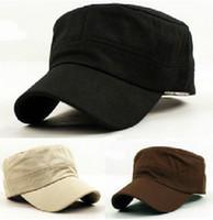 Wholesale 5 colors flat top korean style women leisure Military Cap Hat multi colors custom flat caps for men army superme hat