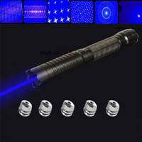 Wholesale Cigarette Lighter nm Blue Laser Pointer Pen Star Pattern Converter Adjsutable Focus Visible Beam with charger