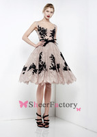 Cheap 2014 Zuhair Murad Dresses Sexy Cheap Crew Black Applique Lace A Line Knee Length Summer Beach Cocktail Dresses Short Party Prom Gowns BO4015
