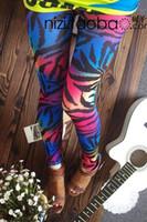 Cheap 2014 New! Fluorescent color leopard zebra Prints leggings Street Fashion Shiny Colorful pantyhose pencil pants,free shipping