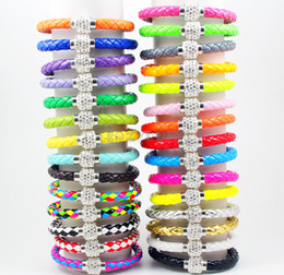 7mm Leather Wrap Wristband Cuff Punk Magnetic Rhinestone Buckle Bracelet Bangle Mix Color