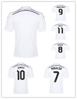 soccer uniforms - Best Thailand Quality Season Spain Madrid Home White Soccer Uniform Football Jerseys Ronaldo Kroos James Bale Benzema