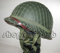 Wholesale Collectibles WW2 US Army M1 Green Helmet W Net double deck outdoor CS game Replica high quality