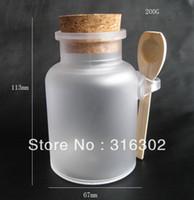 bath jar - G bath salt Bottle ml powder plastic bottle with cork bath salt jar with wood spoon