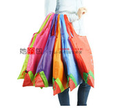 strawberry folding shopping bag - Nylon Foldable Shopping Bags Reusable shopping bag Eco Friendly Shopping Bags Tote Bags Fold the strawberry bag H396