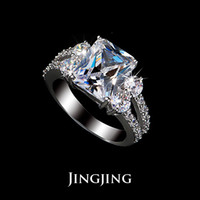 Wholesale 2014 White Gold plated ct Emerald cut Swiss Cubic Zirconia Engagement Rings with Split Shank Shared Bead Set CZ Diamond JR020