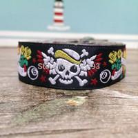 achat en gros de jacquard ruban 16mm-2014 NOUVEAU 5 / 8''16mm Wide 10yard / sets tatouage crâne Tone noir tissé Jacquard ruban pour collier de chien KTZD2014070302
